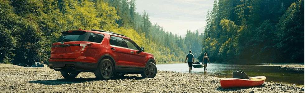 2018 Ford Explorer Rear View, Side of Lake